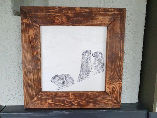 Holzrahmenbild Murmeltiere